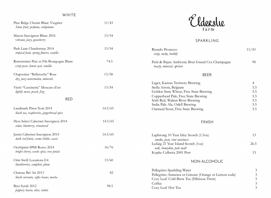Elderslie Farm Bar Menu
