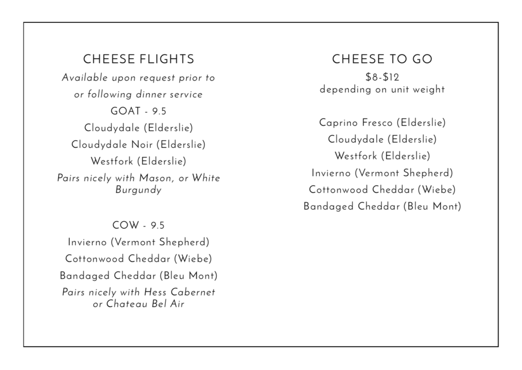 Cheese Flights and Cheese to Go