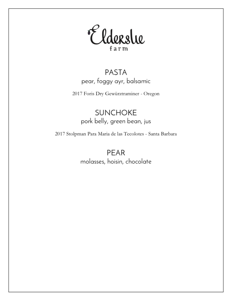 Elderslie Farm 3-course menu Late Fall