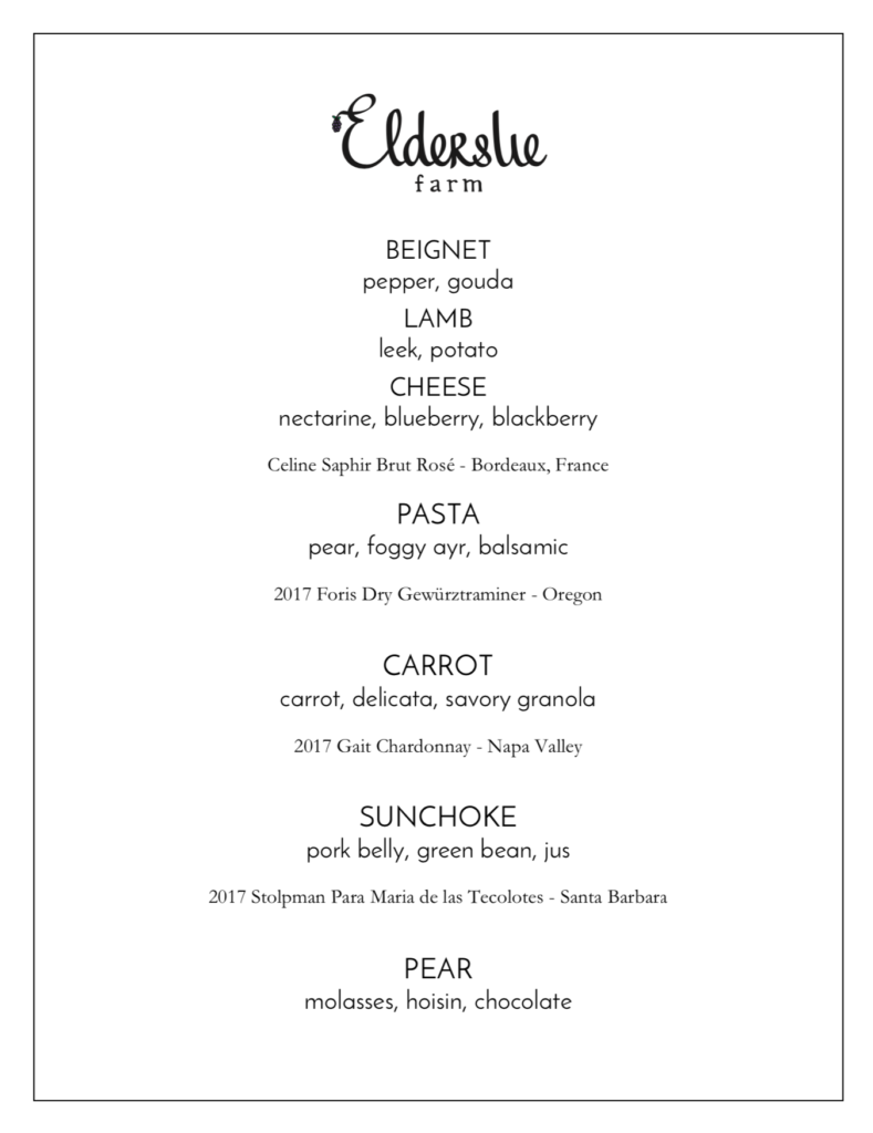 Elderslie Farm Late Fall 2019 Menu
